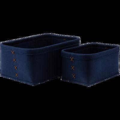 Lot de 2 paniers en feutrine bleu L28xl38xH18cm-VIC