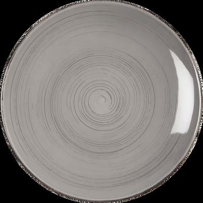 Assiette plate en faïence gris clair effet patiné D27cm-GASTON