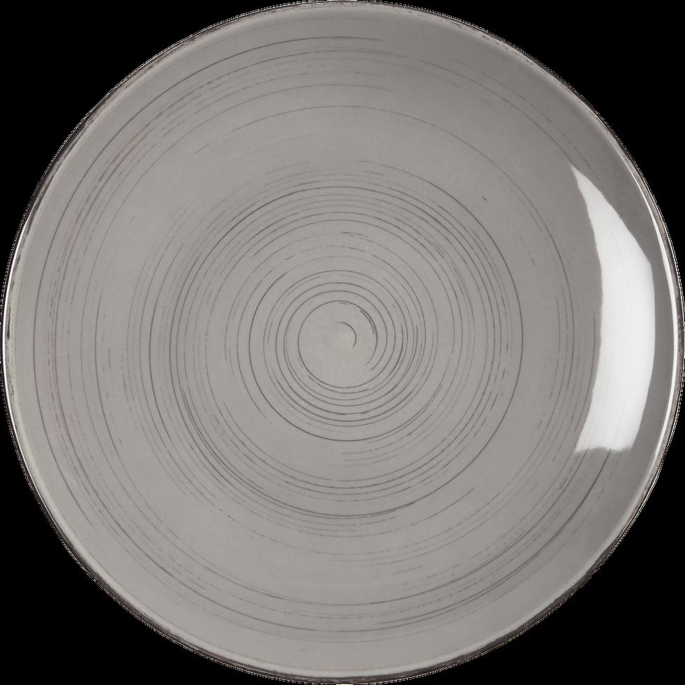 assiette plate en fa ence gris clair effet patin d27cm gaston assiettes plates alinea. Black Bedroom Furniture Sets. Home Design Ideas