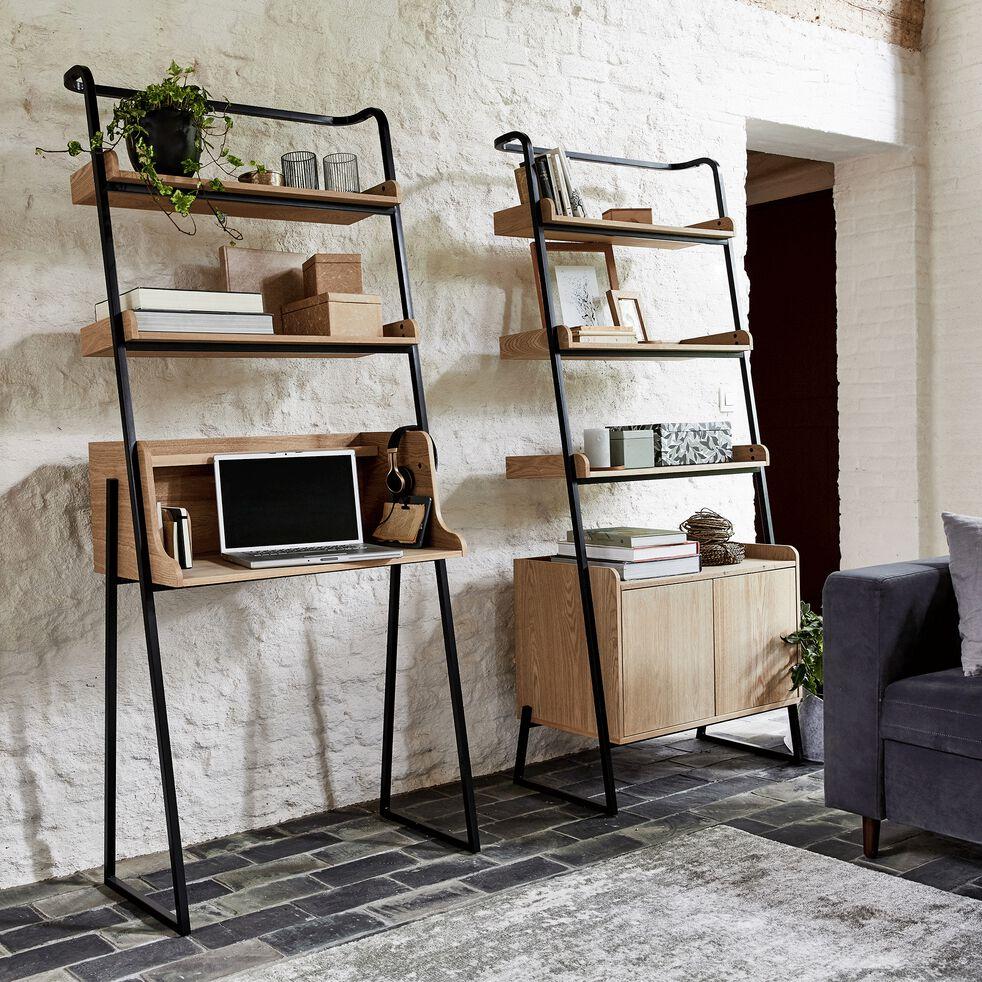Bureau plaqué frêne et métal noir avec 2 tablettes L80cm-ESTANIER