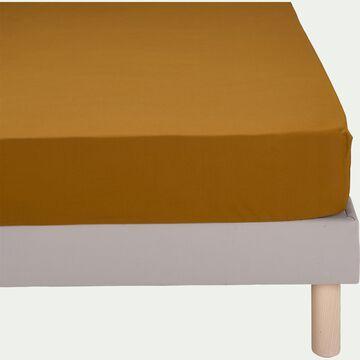 Drap housse en percale de coton - jaune alep 160x200cm B25cm-FLORE