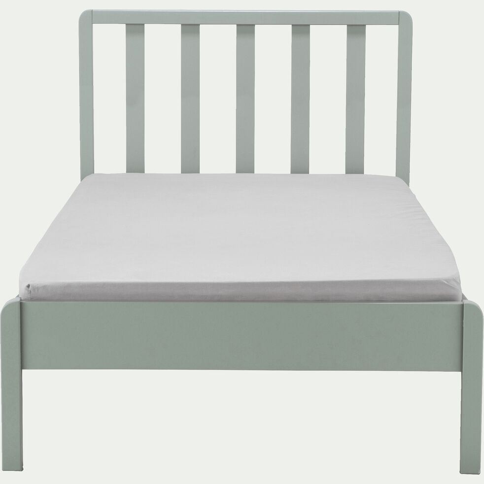 Lit 1 place enfant en bois avec tête de lit à barreaux 90x200cm - vert olivier-JAUME