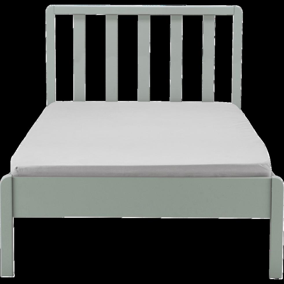 Lit 1 place en bois avec tête de lit à barreaux vert olivier - 90x200 cm-JAUME