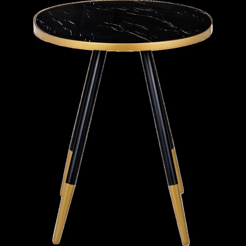 bout de canap rond effet marbre noir marti bouts de. Black Bedroom Furniture Sets. Home Design Ideas