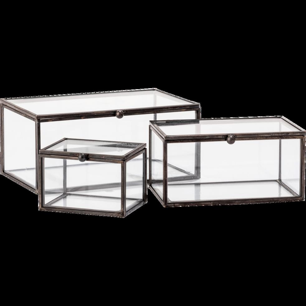 bo te de rangement en verre noire 8x6x5cm aster objets. Black Bedroom Furniture Sets. Home Design Ideas