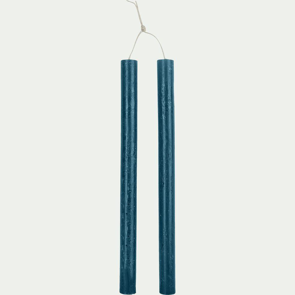 Lot de 2 bougies flambeaux - bleu figuerolles H30cm-BEJAIA