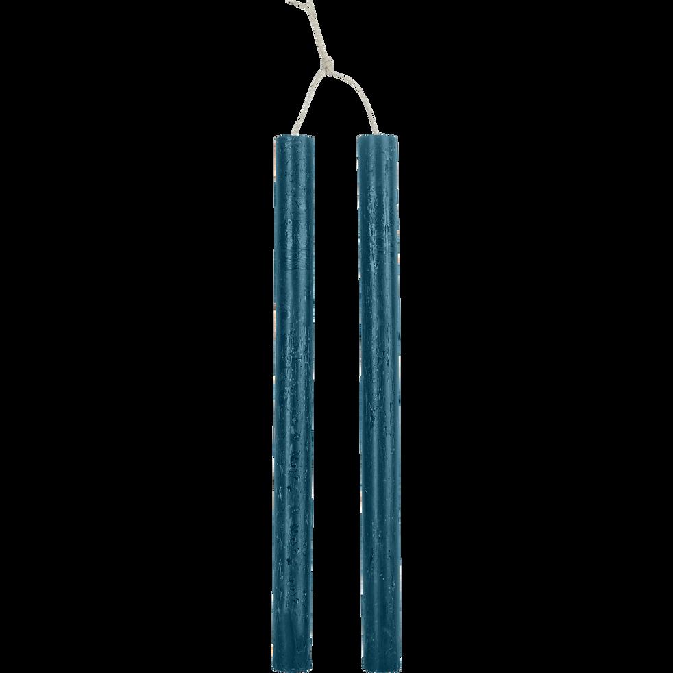 Bougie duo de flambeau bleu figuerolles H30cm-BEJAIA