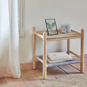 Table de chevet en frêne massif et feutrine Gris clair-THEOULE