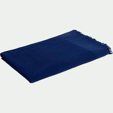Drap de bain en lin et coton - bleu myrte 100x150cm-ALES