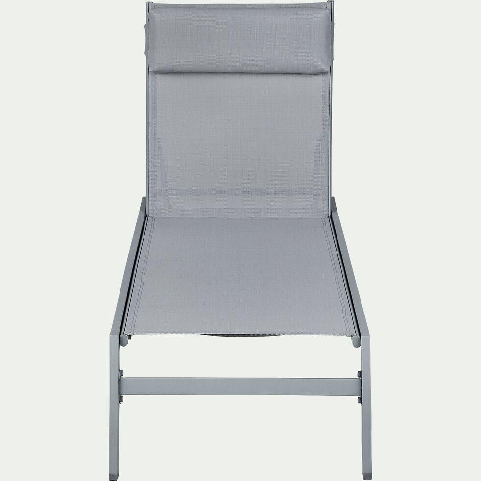 Bain de soleil en métal et textilène - gris vésuve-Tycia