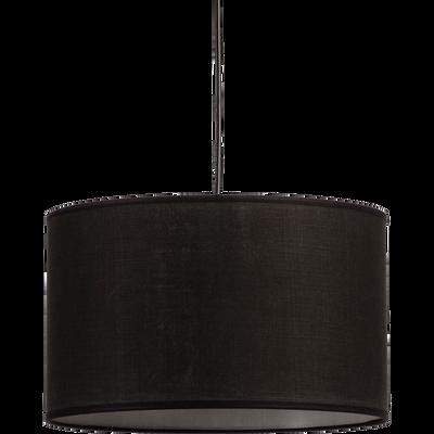 Suspension cylindrique en tissu noir D40cm-MISTRAL