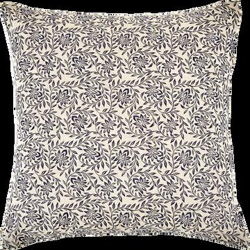 Coussin en lin à motif floral naturel et bleu foncé 45x45cm-JASMIN