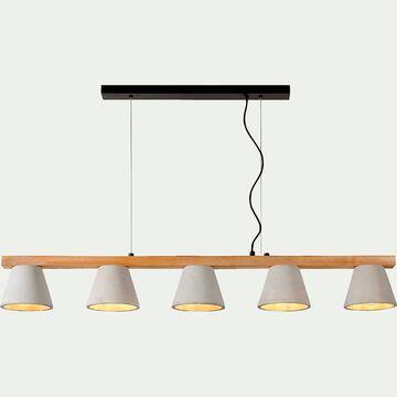 Suspension en bois et béton à 5 lumières L110cm-POSSIO