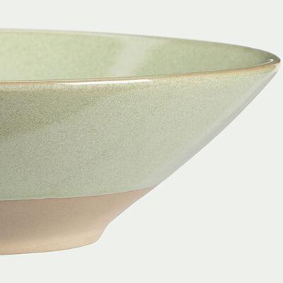 Assiette creuse en grès vert D20,5cm-ESQUIROU