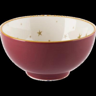 Coupelle en porcelaine rouge décorée D11.5cm-LYRE