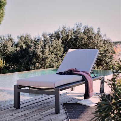 Bain de soleil en aluminium et textilène - gris-OLI