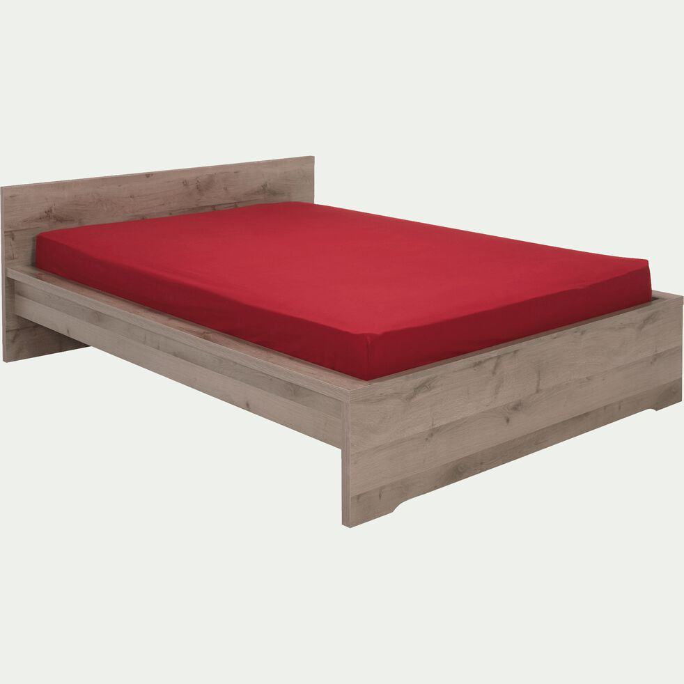 Lit 2 places avec tête de lit finition chaîne cendré - 160x200 cm-Brooklyn