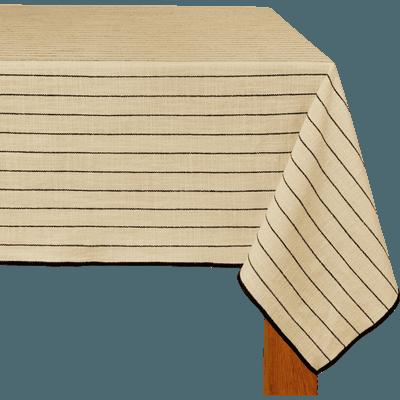 Nappe en coton blanc et noir 170x300cm-BADIANE