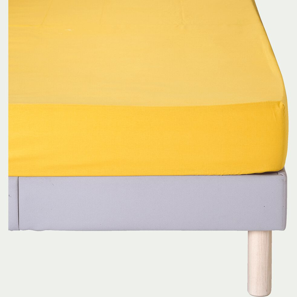 Drap housse en coton - jaune genet 160x200cm B25cm-CALANQUES