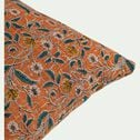 Coussin imprimé block print floral en coton - jaune 30x50cm-SARIBHORA