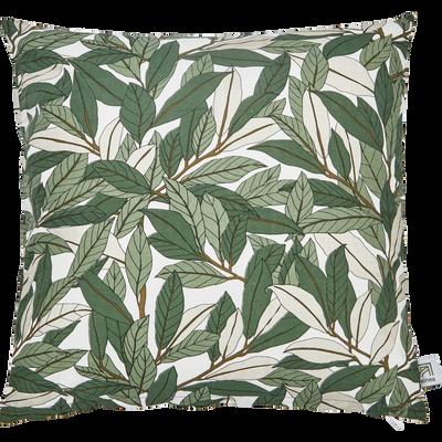 Coussin en coton imprimé vert 40x40cm-LAURIER