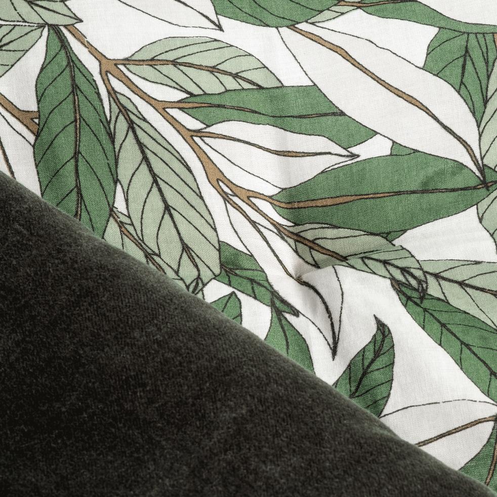 Édredon en velours motif laurier - vert cèdre 100x180cm-LAURIER