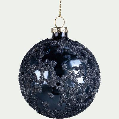 Boule de Noël en verre bleu D8cm-AMBROISE