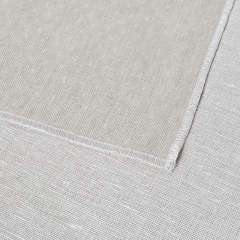 Nappe en lin et coton blanc réversible 145x250cm-ALICE