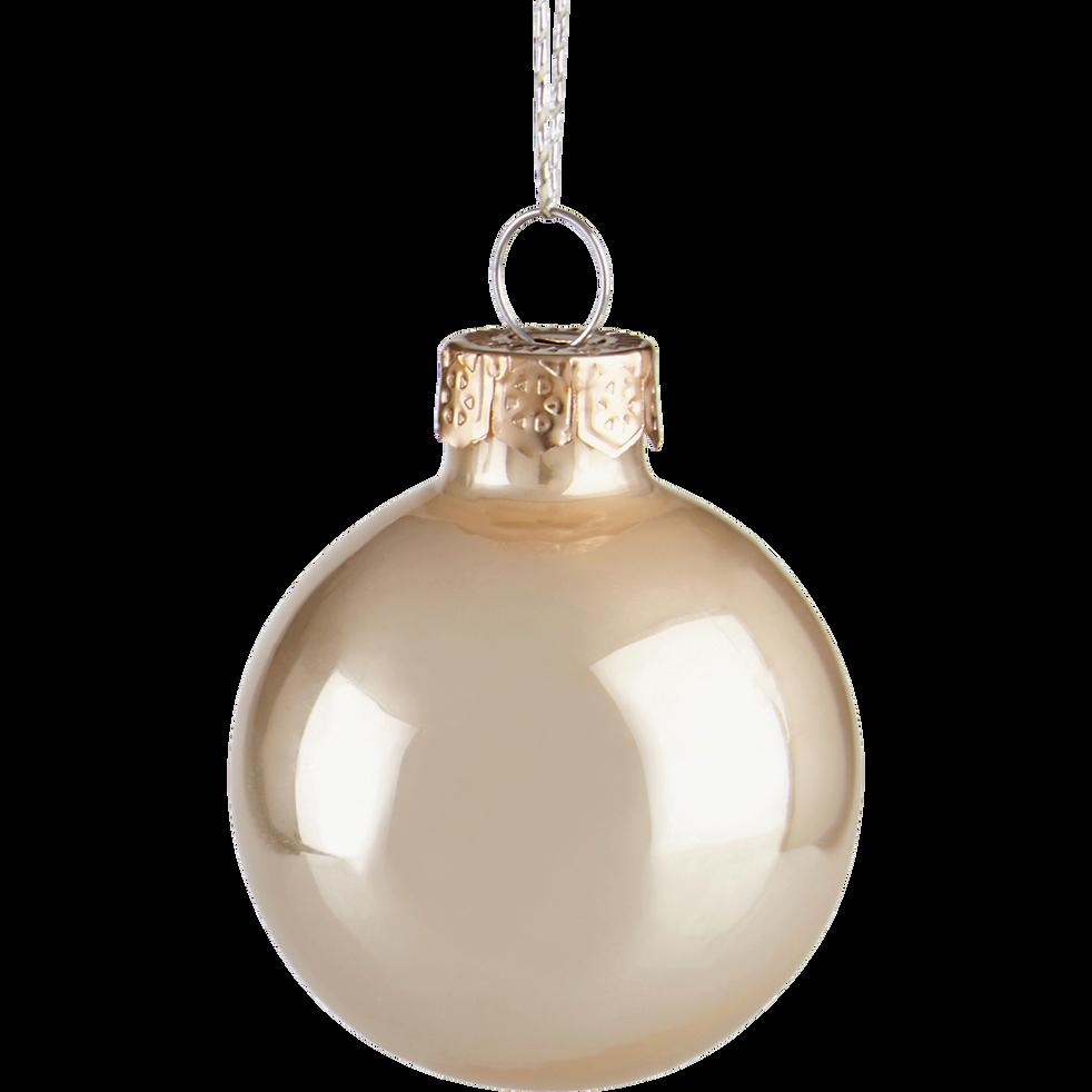 16 boules de Noël beige en verre brillant et mat D3.5cm-MINIBOULE