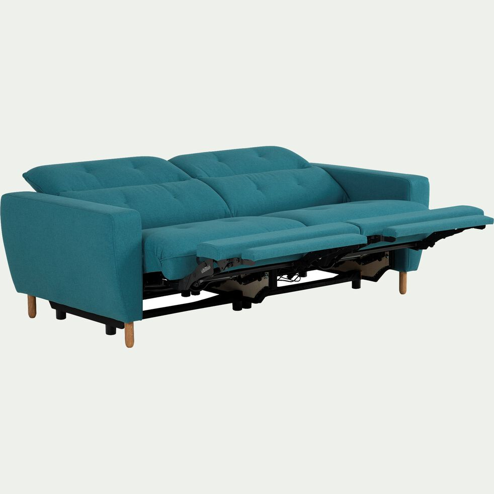 Canapé relax 3 places en tissu avec têtière réglable - bleu-ODYS