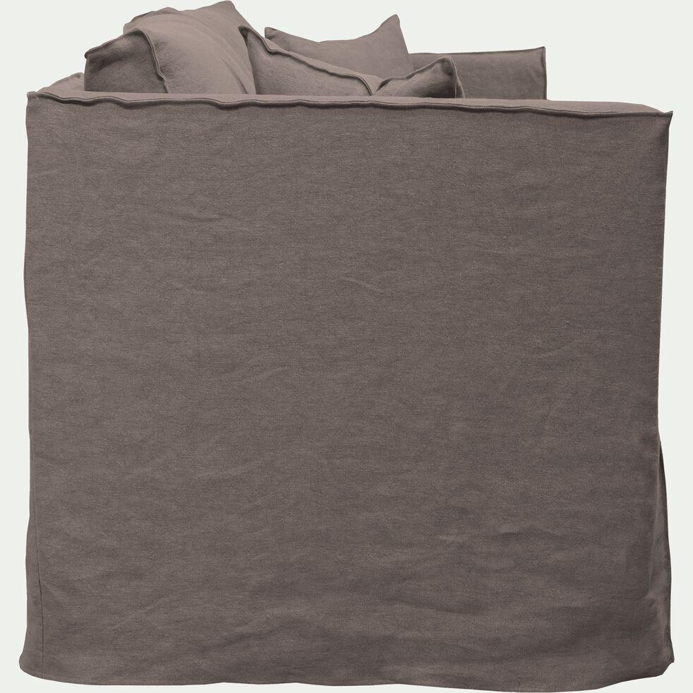 Canapé 5 places fixe en lin gris restanque-VENCE