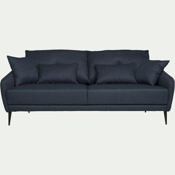 Canapé 3 places fixe en tissu - bleu myrte-DOME