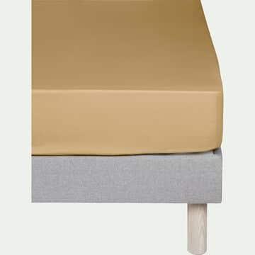 Drap housse en percale de coton - beige nèfle 140x200cm B25cm-FLORE