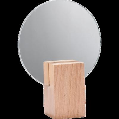 Miroir rond en bois D16cm-SOLSTICE