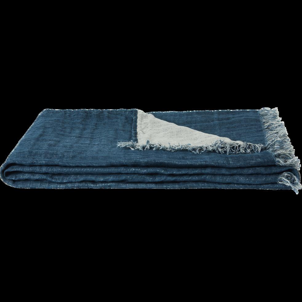 Plaid en lin bleu marine105x200cm-JUSTIN