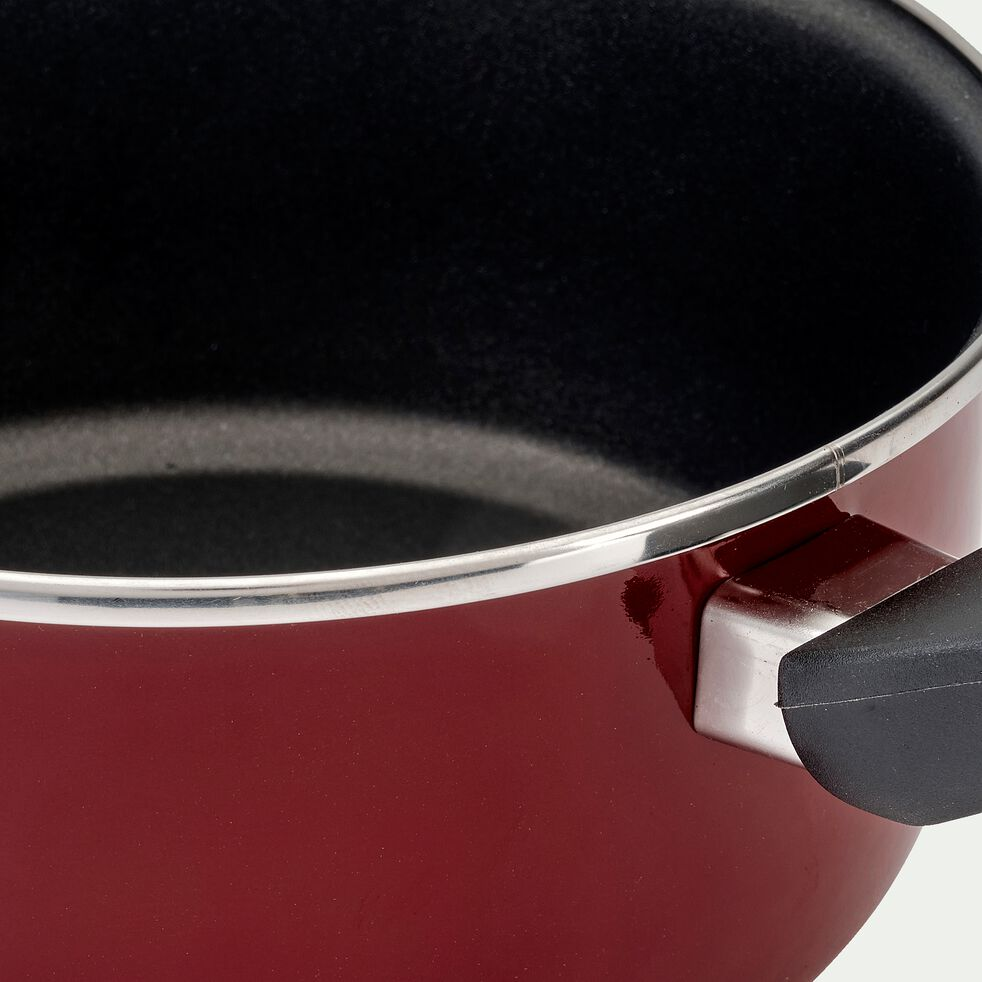 Casserole en acier émaillé - rouge cade D20cm-CAMPI