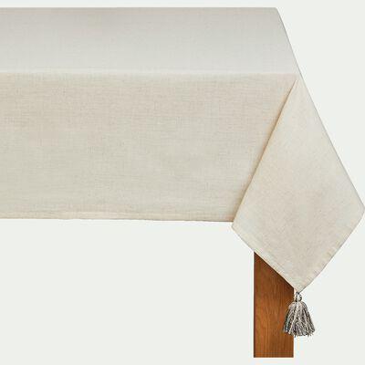 Nappe en coton et lin - blanc 170x250cm-SAIDA