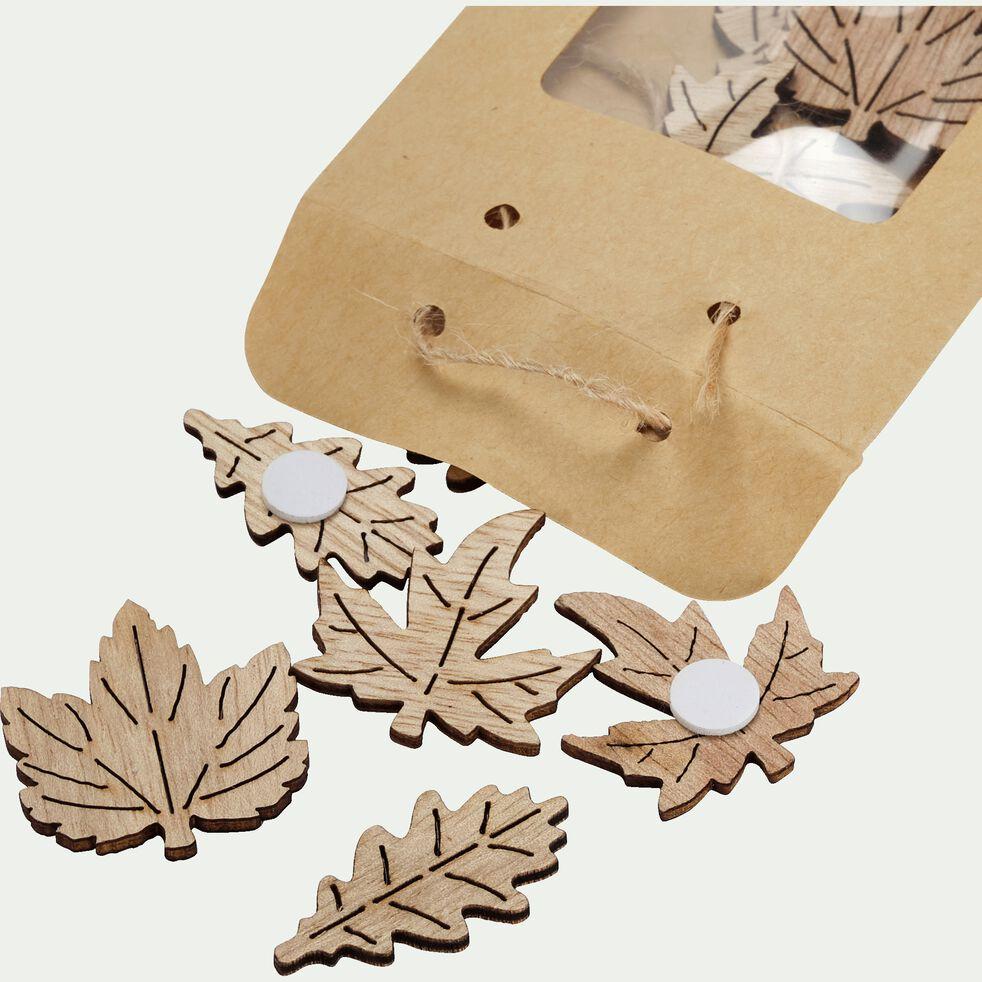 Feuilles déco en bois 0,3x2x4cm - naturel-AGAPES