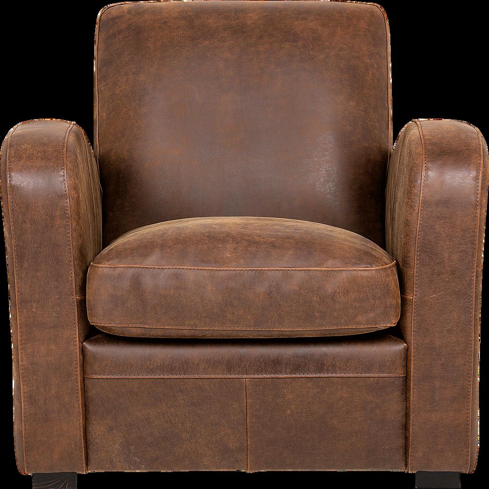 Fauteuil de salon en croûte de cuir - Cuba - fauteuils et poufs - alinea