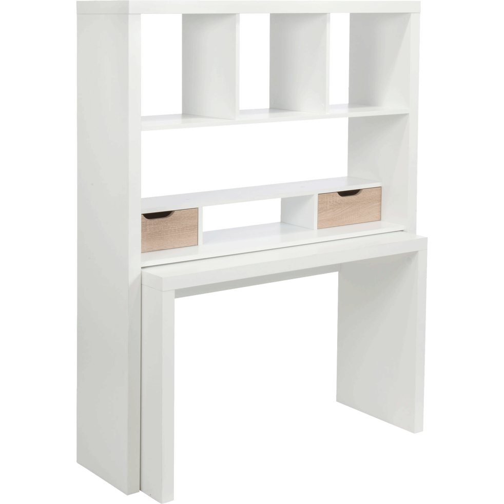 bureau modulable blanc avec tag res et tiroirs twisty bureaux alinea. Black Bedroom Furniture Sets. Home Design Ideas