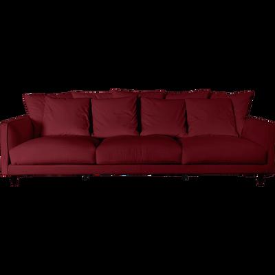 Canapé 6 places fixe en velours rouge sumac-LENITA