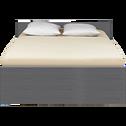 Lit 2 places avec tête de lit & tiroirs Gris foncé - 140x200 cm-BROOKLYN