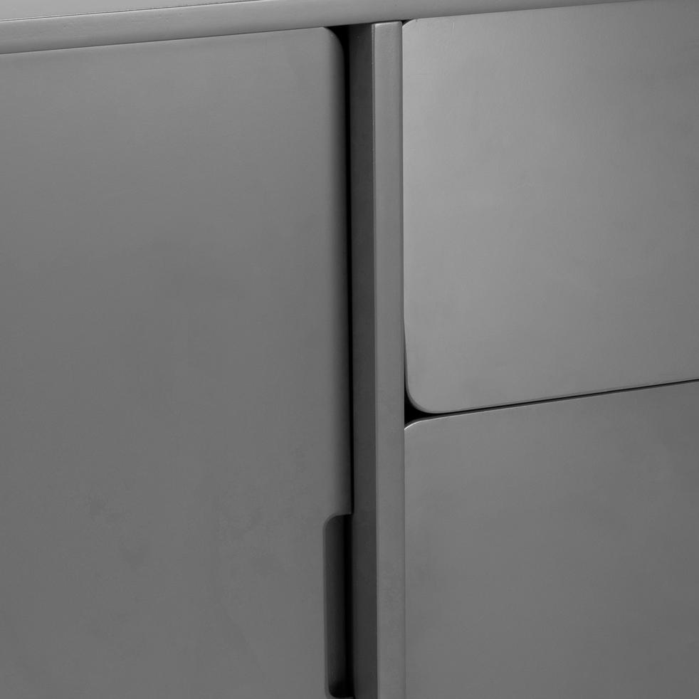 Buffet rétro gris restanque 3 tiroirs et 2 portes coulissantes-AUBUN