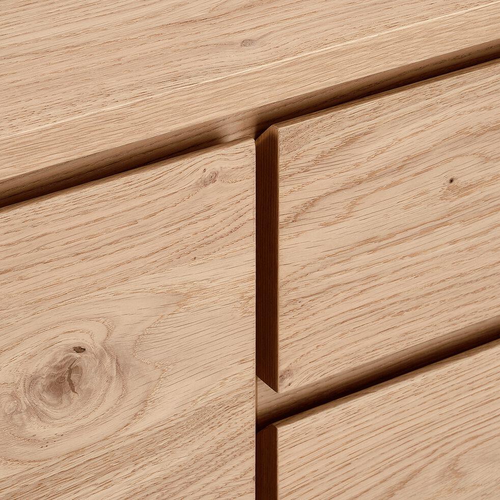 Buffet bas plaqué chêne 3 portes 1 tiroir-STOCKHOLM