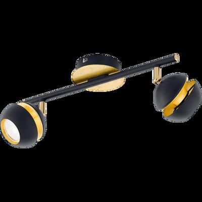 Spot en acier noir et doré L36cm à 2 lumières-NOCITO