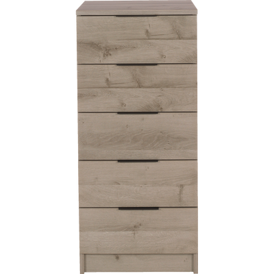 Chiffonnier 5 tiroirs chêne cendré-BROOKLYN