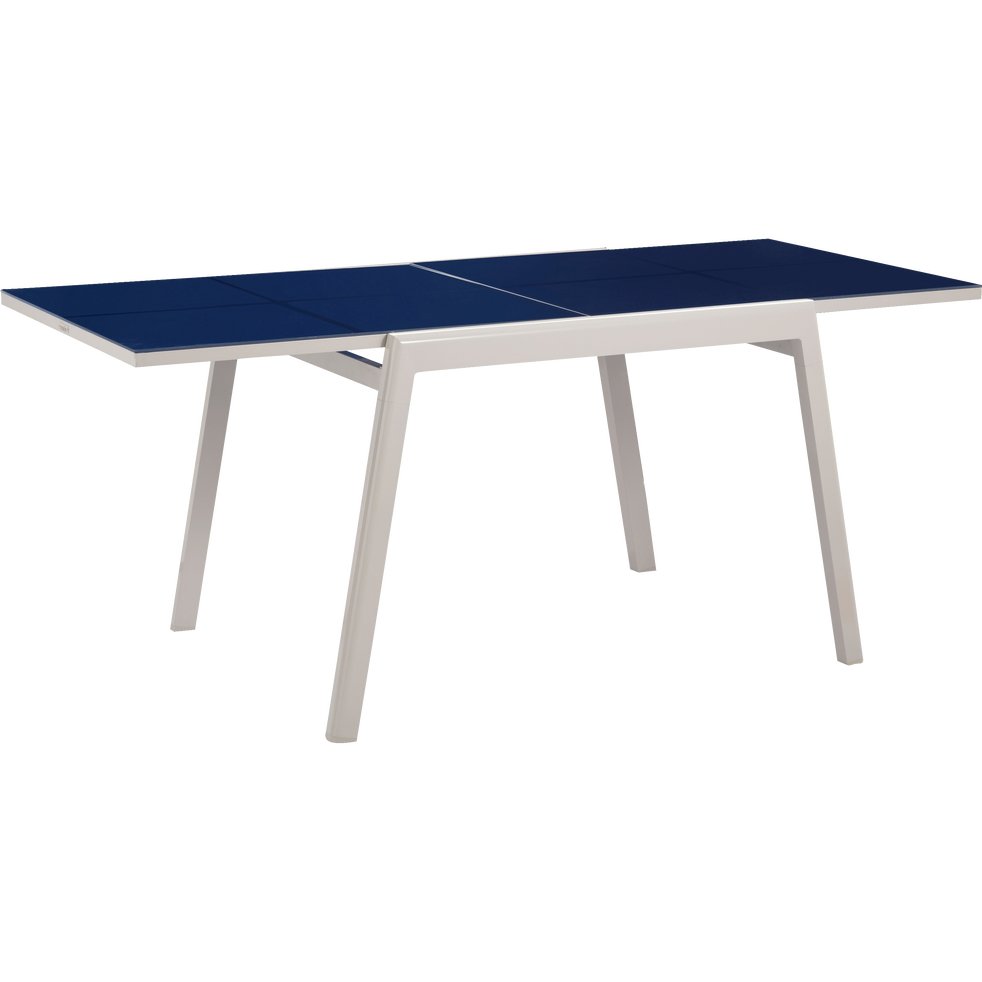 Table de jardin extensible bleue en alu et verre trempé (2 à 6 places)-COSY