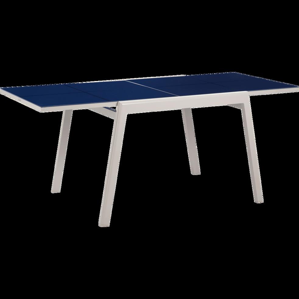 Table de jardin extensible bleue en alu et verre trempé (2 à 6 ...