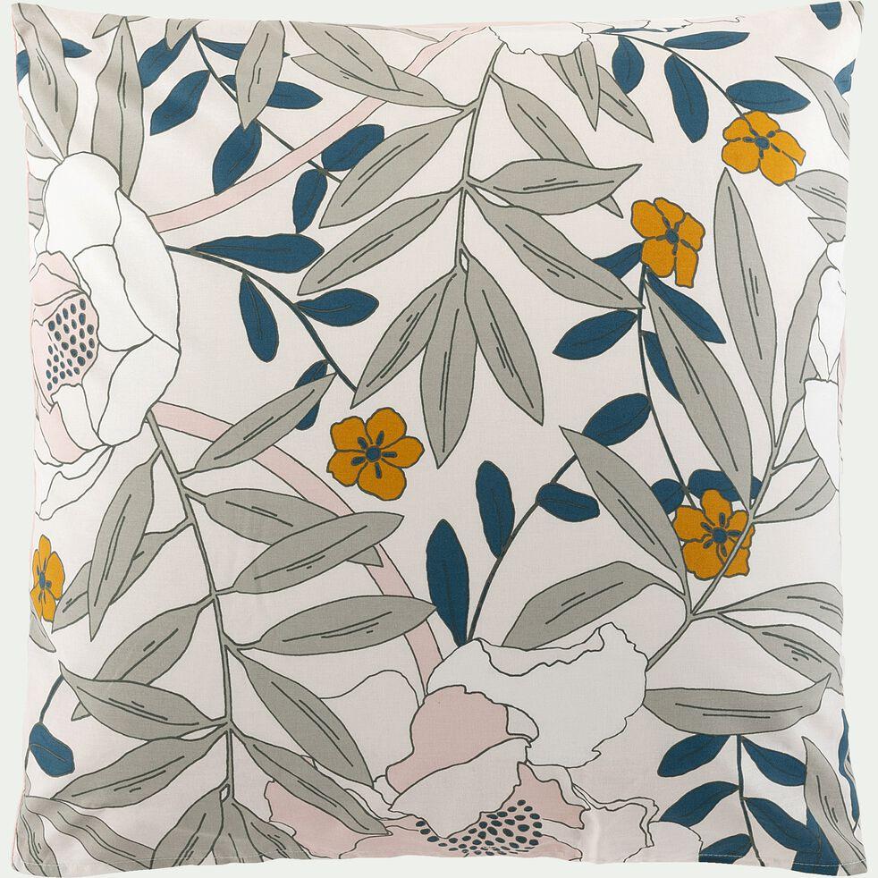 Housse de couette et 2 taies d'oreiller en coton motif floral - 240X260cm-ARBOUSIER