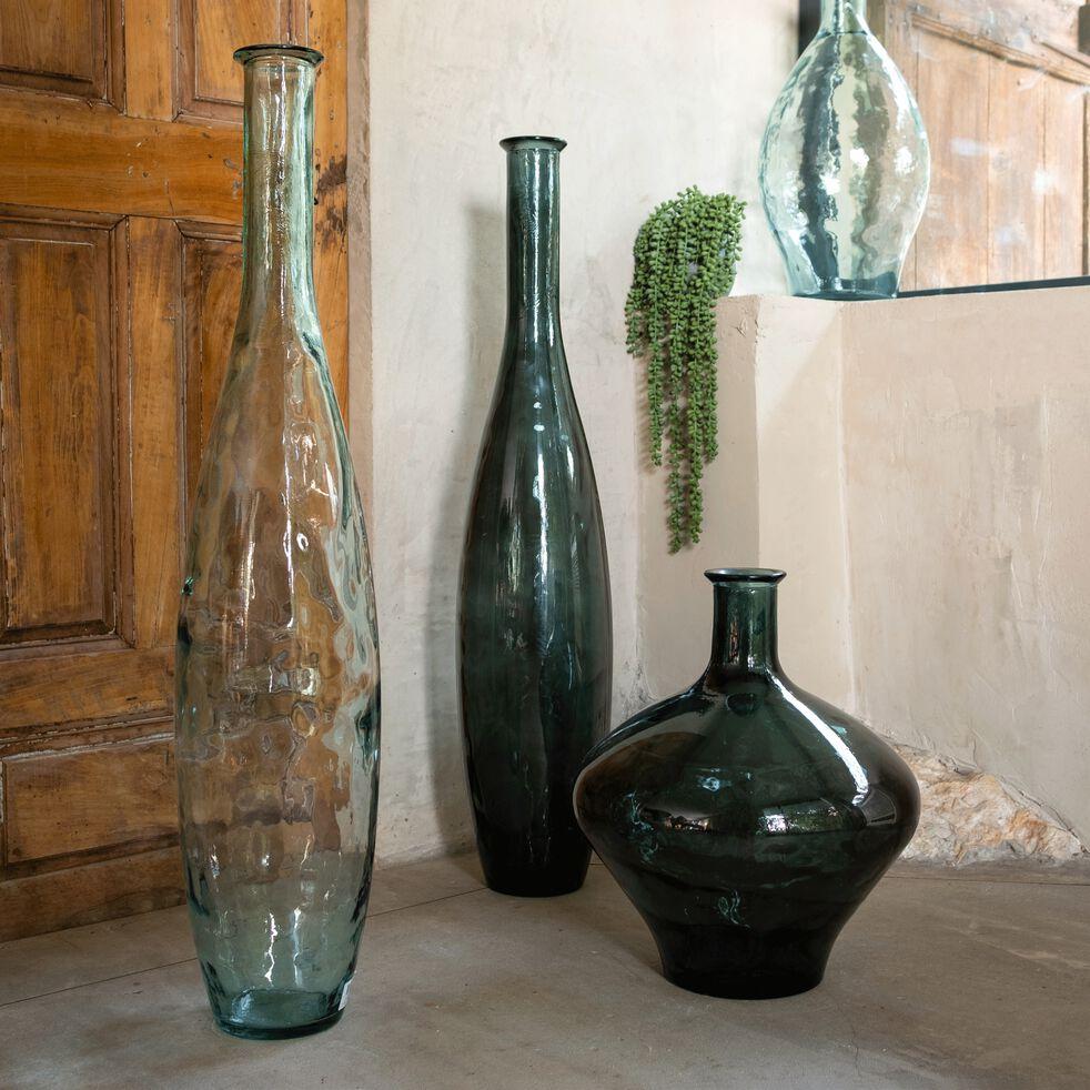 Grand vase bouteille en verre recyclé - transparent H100cm-AJJA